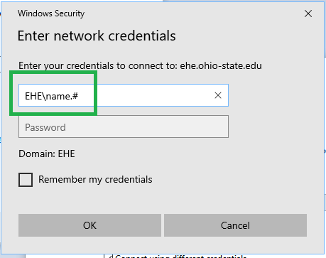 Enter network credentials screenshot